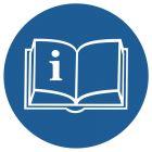 Przeczytaj instrukcję - znak bhp nakazujący, informujący - GK013