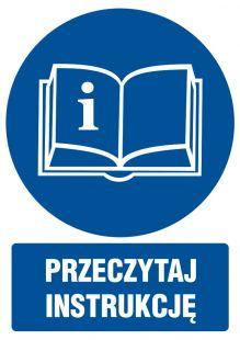 Przeczytaj instrukcję - znak bhp nakazujący, informujący - GL030