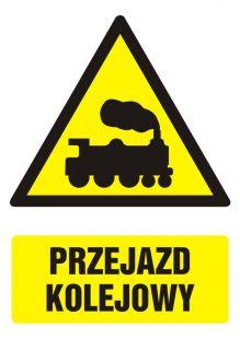 Przejazd kolejowy - znak bhp ostrzegający, informujący - GF032