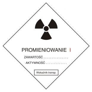 Przesyłka transportowa kategorii I - znak bezpieczeństwa, ostrzegający, promieniowanie - KA003