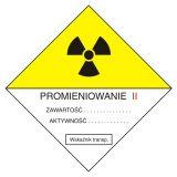 Przesyłka transportowa kategorii II - znak bezpieczeństwa, ostrzegający, promieniowanie - KA004 - Promieniowanie jonizujące – bezpieczeństwo i znaki
