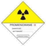 Przesyłka transportowa kategorii III - znak bezpieczeństwa, ostrzegający, promieniowanie - KA005 - Promieniowanie jonizujące – bezpieczeństwo i znaki