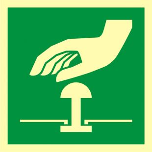 Przycisk awaryjnego zatrzymania - znak ewakuacyjny - AAE020