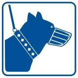 Psy wprowadzać tylko na smyczy i w kagańcu - znak informacyjny - RA101 - Budynki mieszkalne – oznakowanie