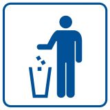 RA047 - Kosz na odpadki - znak informacyjny - Obiekty handlowe – znaki bezpieczeństwa i tablice informacyjne