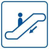 RA052 - Schody ruchome w dół - znak informacyjny - Obiekty handlowe – znaki bezpieczeństwa i tablice informacyjne
