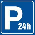 RA118 - Parking strzeżony - czynny całą dobę - znak informacyjny