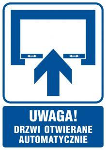 RB013 - Uwaga! Drzwi otwierane automatycznie - znak informacyjny