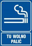 RB025 - Tu wolno palić - znak informacyjny - Palenie tytoniu – gdzie obowiązuje zakaz, a gdzie wolno palić?