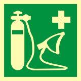 Resuscytator tlenowy - znak ewakuacyjny - AAE028 - Ewakuacyjne znaki bezpieczeństwa – PN-EN ISO 7010
