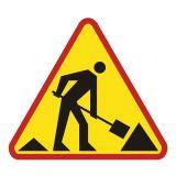 Roboty na drodze - znak PCV, naklejka - SA014 - Wypożyczalnia znaków drogowych: jakie są ceny i jak działa wynajem? Kto może skorzystać z usługi?
