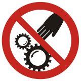 Ruchome części maszyny - znak bhp ostrzegający - GB033 - Obsługa maszyn i innych urządzeń technicznych