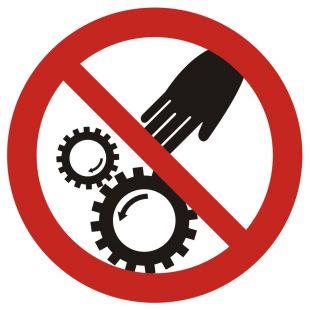Ruchome części maszyny - znak bhp ostrzegający - GB033