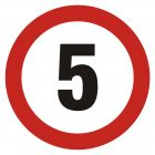 SA003 - Ograniczenie prędkości 5 - znak PCV, naklejka