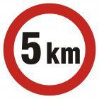 SA005 - Ograniczenie prędkości 5km - znak PCV, naklejka