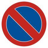 SA008 - Zakaz postoju - znak PCV, naklejka - Drogi pożarowe – oznakowanie