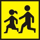 SA013 - Uwaga! Dzieci - znak PCV, naklejka