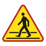 SA016 - Przejście dla pieszych - znak PCV, naklejka - Aktywne przejścia dla pieszych