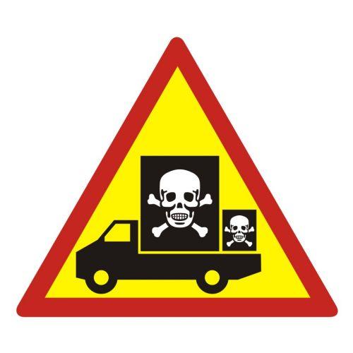 Samochód przewozi niebezpieczny ładunek - znak, naklejka samochodowa - SC010 - Materiały niebezpieczne – ogólne informacje BHP