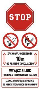 SB017 - Zachowaj odległość 10 m od pojazdu tankującego. Wyłącz silnik podczas tankowania paliwa