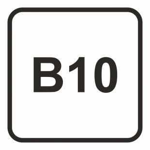 SB026 - B10 - Olej napędowy- maksymalna zawartość biodiesla w paliwie dopuszczalna do użycia w pojeździe 10% - znak stacje benzynowe