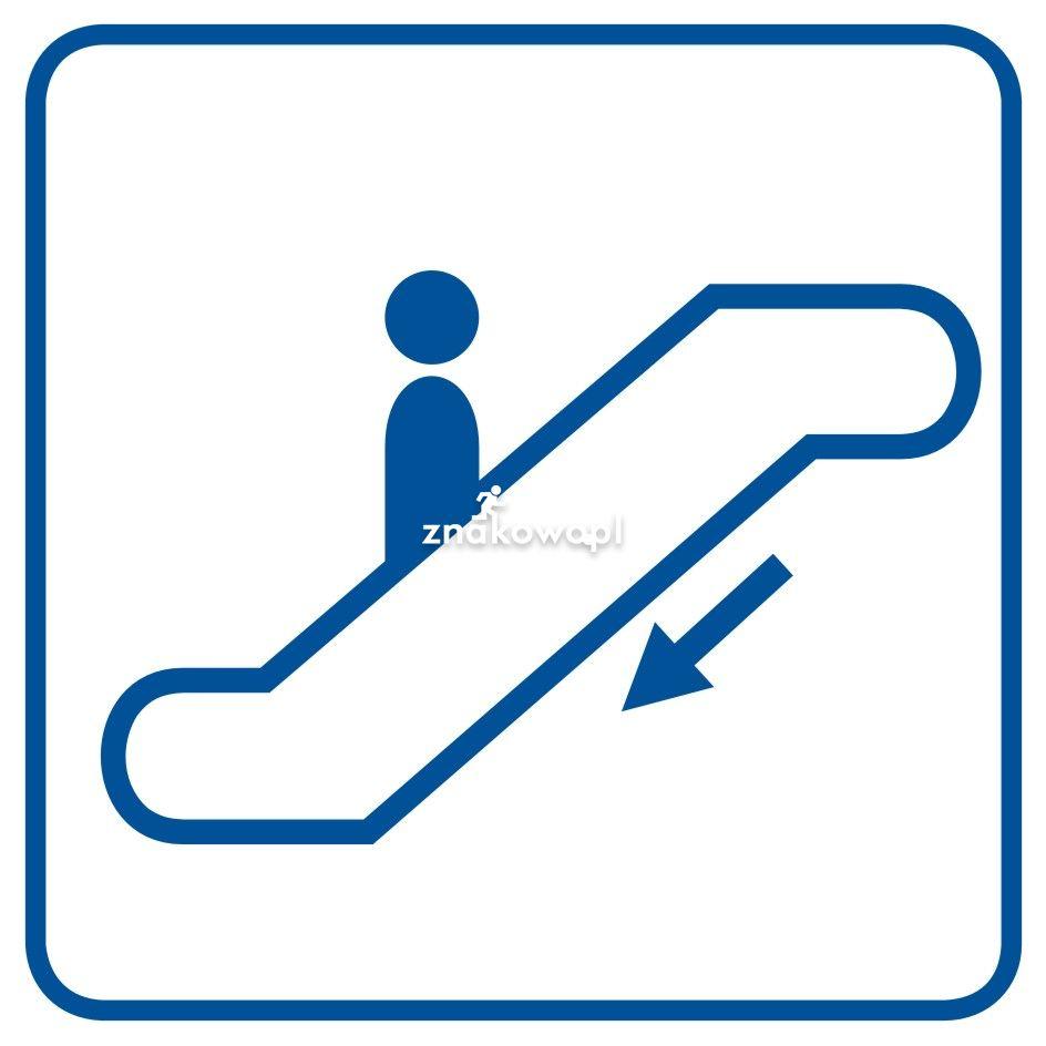 Schody ruchome w dół - Obiekty handlowe – znaki bezpieczeństwa i tablice informacyjne