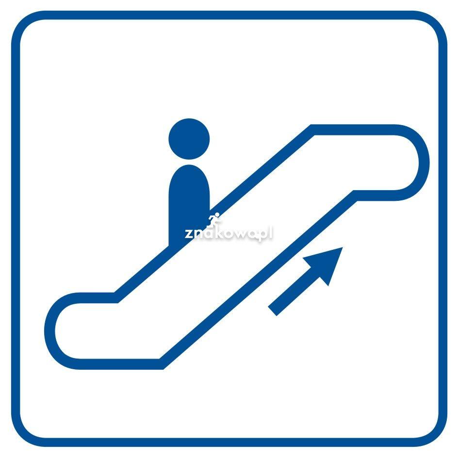 Schody ruchome w górę - Obiekty handlowe – znaki bezpieczeństwa i tablice informacyjne