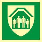 Schronisko; Miejsce bezpiecznego schronienia - znak ewakuacyjny - AAE021