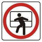 SD001 - Zakaz wychylania się przez okno - znak, naklejka kolejowa