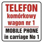 SD017 - Telefon komórkowy w wagonie nr 1. Mobile phone in carriage no 1 - znak, naklejka kolejowa