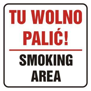 SD019 - Tu wolno palić! Smoking area - znak, naklejka kolejowa