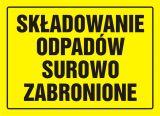 Składowanie odpadów surowo zabronione - znak, tablica budowlana - OA034 - Magazynowanie odpadów o właściwościach palnych