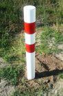 Słupek metalowy, do wkopania, wbetonowania, 120(80)cm, U-12c drogowy parkingowy biało-czerwony