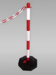 Słupek przenośny, grodzeniowy, łańcuchowy, plastikowy podstawa wypełniana wodą biało-czerwony