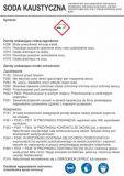 Soda kaustyczna - etykieta chemiczna, oznakowanie opakowania - LC035 - BHP na halach produkcyjnych