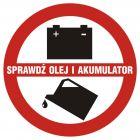 Sprawdź olej i akumulator - znak, naklejka samochodowa - SC005