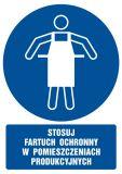 Stosuj fartuch ochronny w pomieszczeniach produkcyjnych - znak bhp nakazujący, informujący - GL028 - Szkolenia BHP pracowników