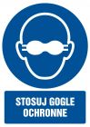 Stosuj gogle ochronne - znak bhp nakazujący, informujący - GL059
