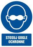 Stosuj gogle ochronne - znak bhp nakazujący, informujący - GL059 - Znaki BHP w miejscu pracy (norma PN-93/N-01256/03)
