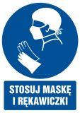 Stosuj maskę i rękawiczki - znak bhp nakazujący, informujący - GL029 - BHP a koronawirus