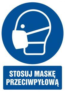 Stosuj maskę przeciwpyłową - znak bhp nakazujący, informujący - GL018