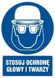 Stosuj ochronę głowy i twarzy - znak bhp nakazujący, informujący - GL019 - Znaki nakazu BHP – zastosowanie i przykłady