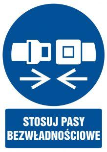 Stosuj pasy bezwładnościowe - znak bhp nakazujący, informujący - GL024