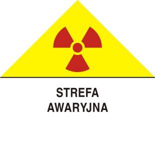 Strefa awaryjna - znak bezpieczeństwa, ostrzegający, promieniowanie - KA009