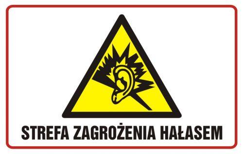 Strefa zagrożenia hałasem - znak ostrzegający, informujący - NC006 - Ochrona przed hałasem w pracy a BHP