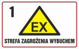 Strefa zagrożenia wybuchem 1 - znak ostrzegający, informujący - NC003 - Prace niebezpieczne pod względem pożarowym