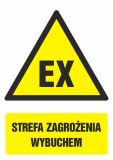 Strefa zagrożenia wybuchem - znak bhp ostrzegający, informujący - GF040 - Znaki antystatyczne, kopalnie