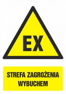 Strefa zagrożenia wybuchem - znak bhp ostrzegający, informujący - GF040