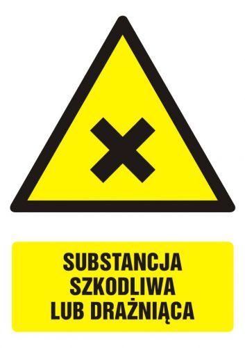 Substancja szkodliwa lub drażniąca - znak bhp ostrzegający, informujący - GF028 - Zagrożenia biologiczne w miejscu pracy