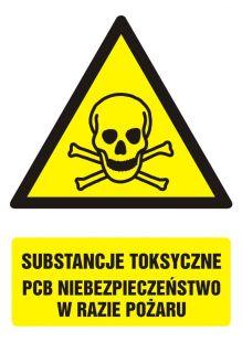 Substancje toksyczne.PCB Niebezpieczeństwo w  razie pożaru - znak bhp ostrzegający, informujący - GF008